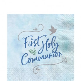 B2 Blue First Holy Communion paper napkins