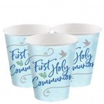 B3 Blue First Holy Communion paper cups