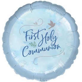 B6 Blue First Holy Communion foil helium balloon