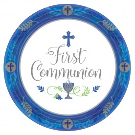 BB1 Blue Celebration First Holy Communion paper plates