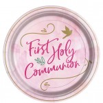 P1 Pink First Holy Communion paper plates