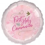 P6 Pink First Holy Communion foil helium balloon