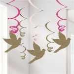 P8 Pink First Holy Communion hanging swirl decoration