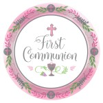 PP1 Pink Celebration First Holy Communion paper plates