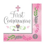 PP2 Pink Celebration First Holy Communion paper napkins