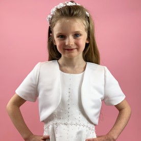 J1 Communion Bolero Jacket - Plain Satin